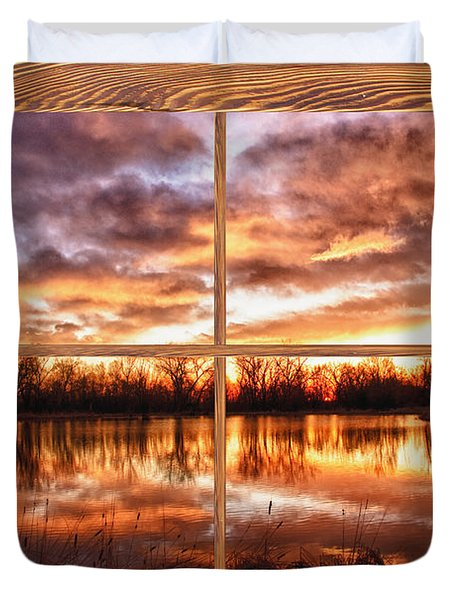 Crane Hollow Sunrise Barn Wood Picture Window Frame View Duvet Cover by James BO  Insogna