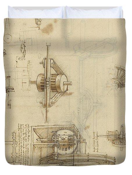 Crank Spinning Machine With Several Details Duvet Cover by Leonardo Da Vinci