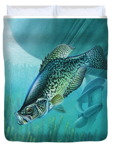 Crappie and Boat Duvet Cover by JQ Licensing