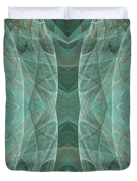 Crashing Waves Of Green 2 - Panorama - Abstract - Fractal Art Duvet Cover by Andee Design