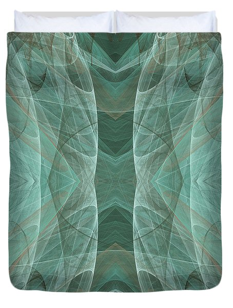 Crashing Waves Of Green 4 - Square - Abstract - Fractal Art Duvet Cover by Andee Design