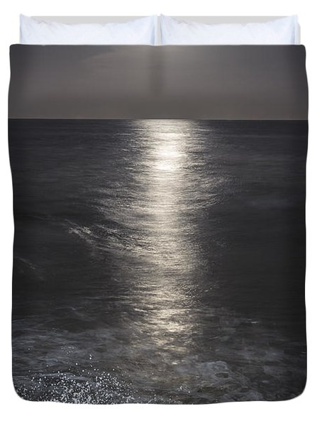 Crashing with the moon Duvet Cover by Bryan Toro