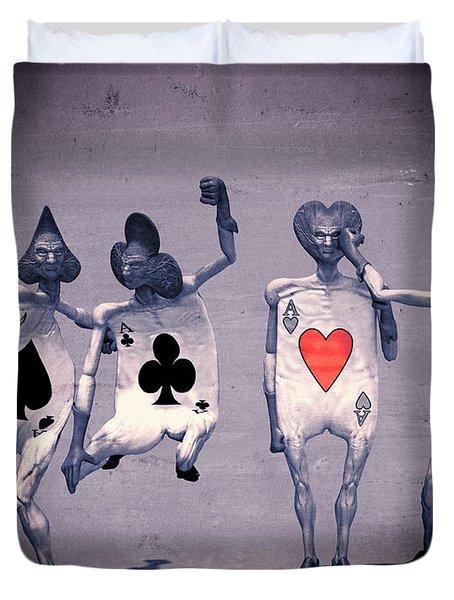 Crazy Aces Duvet Cover by Bob Orsillo