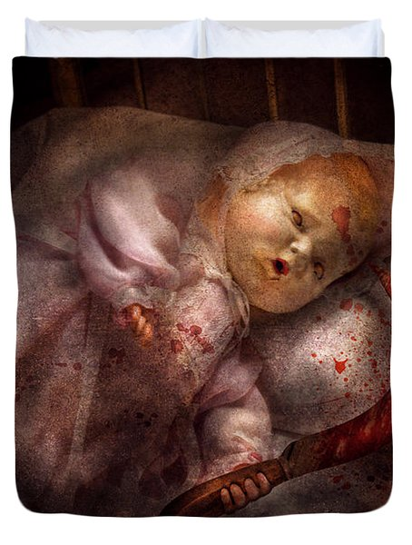 Creepy - Doll - Night Terrors Duvet Cover by Mike Savad