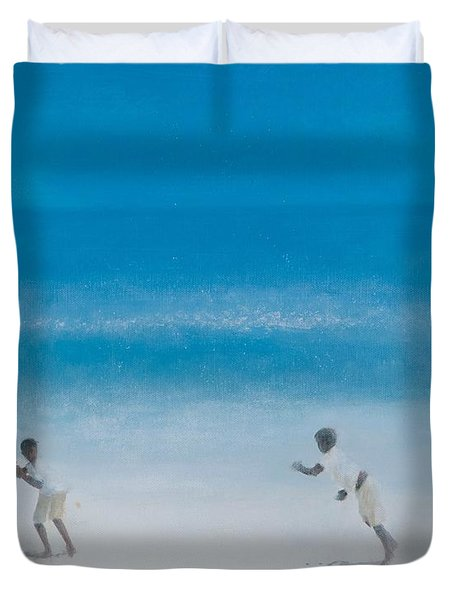 Cricket On The Beach, 2012 Acrylic On Canvas Duvet Cover by Lincoln Seligman