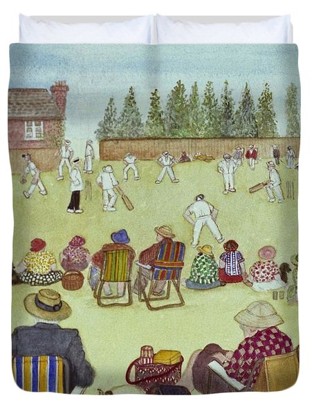 Cricket On The Green, 1987 Watercolour On Paper Duvet Cover by Gillian Lawson