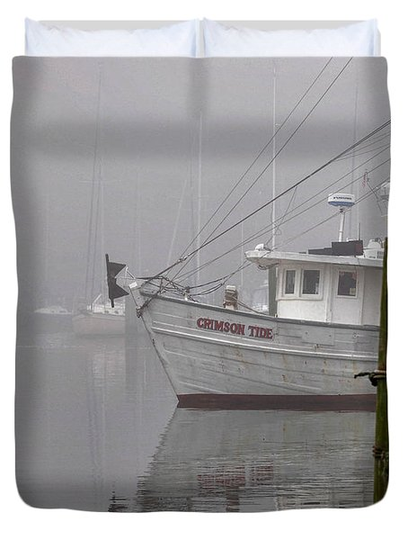 Crimson Tide In The Mist Duvet Cover by Michael Thomas