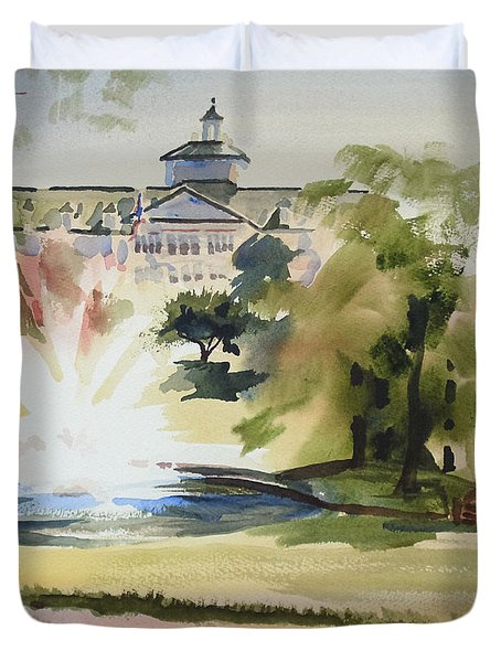 Crisp Water Fountain At The Baptist Home IIi Duvet Cover by Kip DeVore