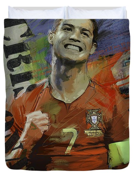 Cristiano Ronaldo - B Duvet Cover by Corporate Art Task Force