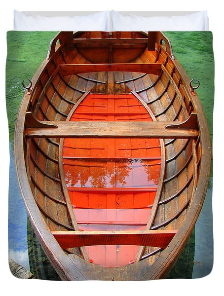 Croatian Rowboat Duvet Cover by Ramona Johnston