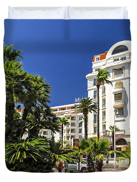 Croisette promenade in Cannes Duvet Cover by Elena Elisseeva