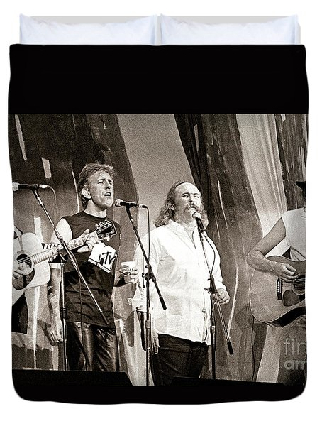 Crosby  Stills  Nash  And Young 1985 Duvet Cover by Chuck Spang