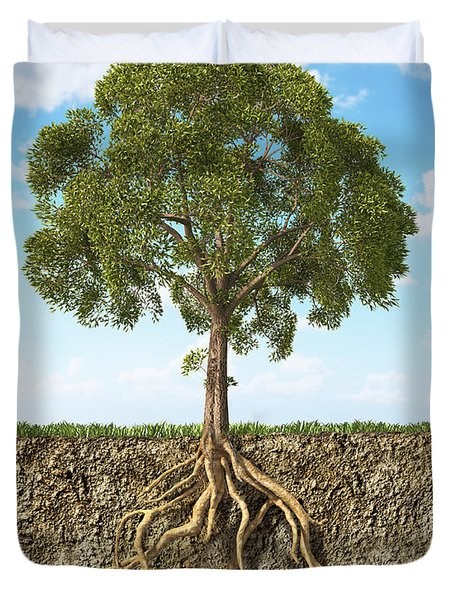 Cross Section Of Soil Showing A Tree Duvet Cover by Leonello Calvetti