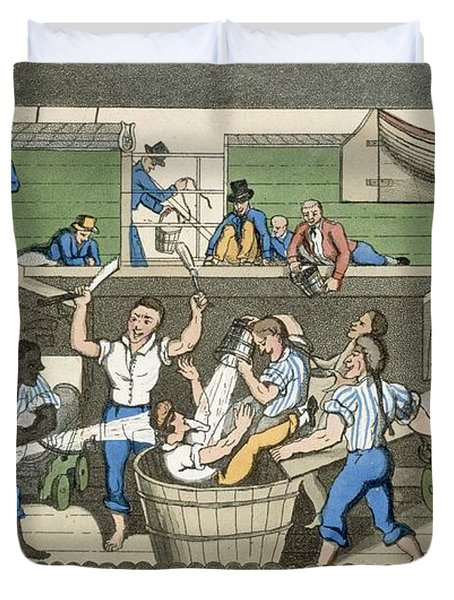 Crossing The Line, Plate From The Duvet Cover by Thomas Rowlandson