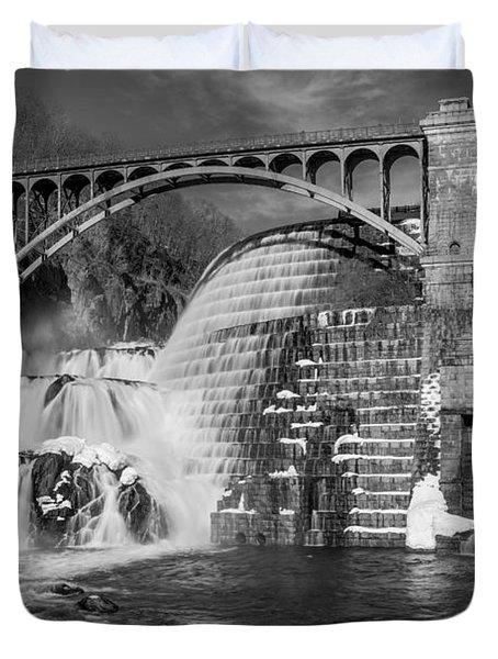 Croton Dam BW Duvet Cover by Susan Candelario