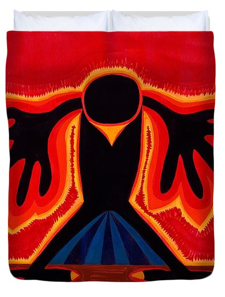 Crow Rising original painting Duvet Cover by Sol Luckman
