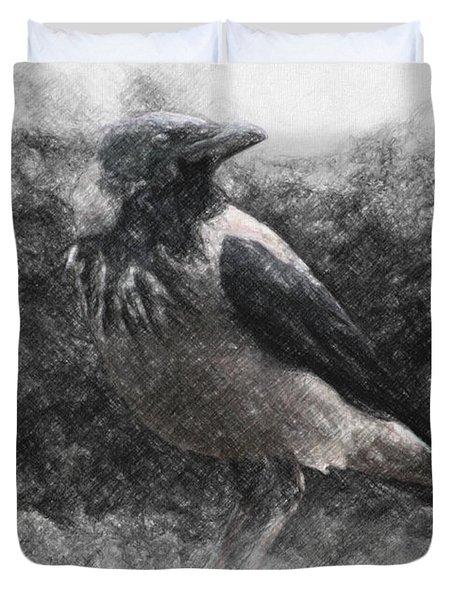 Crow Duvet Cover by Taylan Apukovska