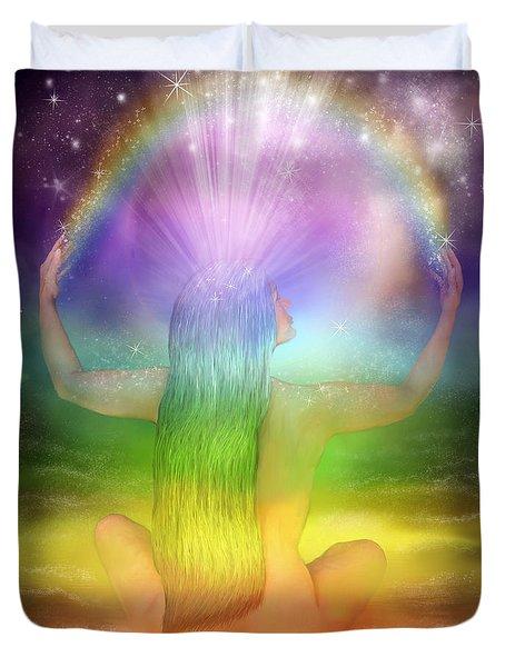 Crown Chakra Goddess Duvet Cover by Carol Cavalaris