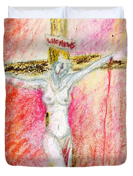 Crucified  Duvet Cover by Kd Neeley