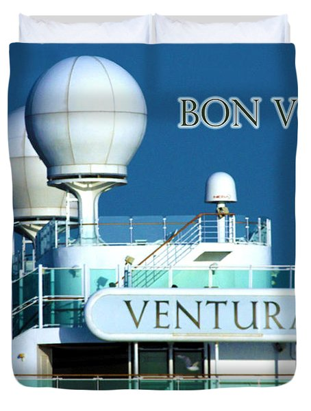 Cruise Ship Ventura's Radar Domes Duvet Cover by Terri Waters