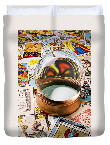 Crystal Ball And Tarot Cards Duvet Cover by Garry Gay