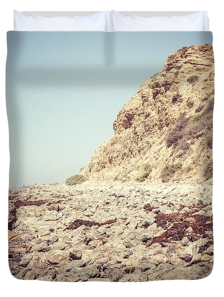 Crystal Cove State Park Cliff Picture Duvet Cover by Paul Velgos