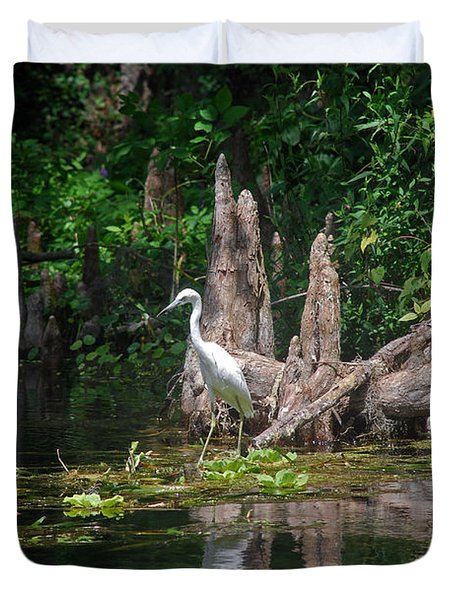 Crystal River Egret Duvet Cover by Skip Willits
