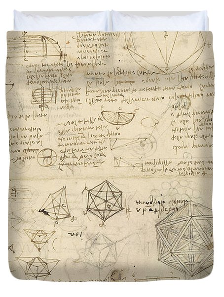 Cube Sphere Icosahedron Mention Of Known Project For Telescope  Duvet Cover by Leonardo Da Vinci