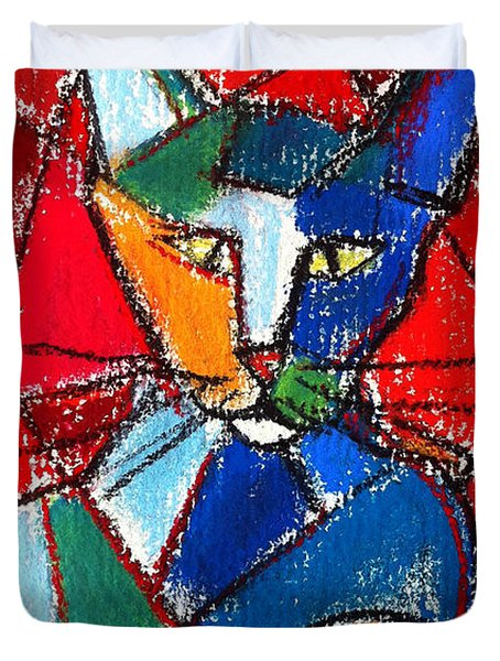 Cubist Colorful Cat Duvet Cover by Mona Edulesco