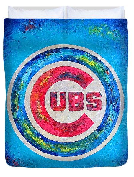 Chicago Cubs Baseball Duvet Cover by Dan Haraga