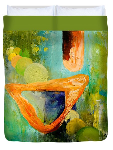 Cue L'orange Duvet Cover by Larry Martin