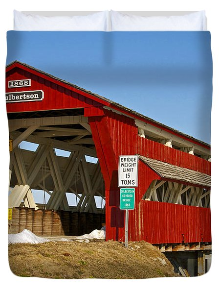 Culbertson Or Treacle Creek Covered Bridge Duvet Cover by Jack R Perry