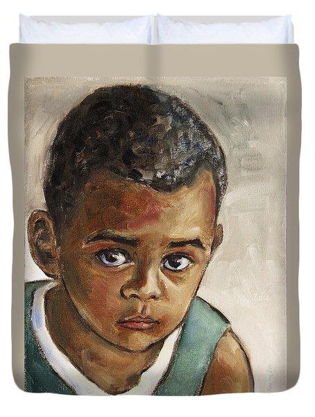 Curious Little Boy Duvet Cover by Xueling Zou