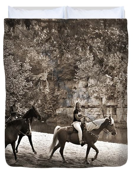 Current River Horses Duvet Cover by Marty Koch