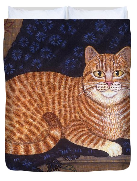 Curry the Cat Duvet Cover by Linda Mears