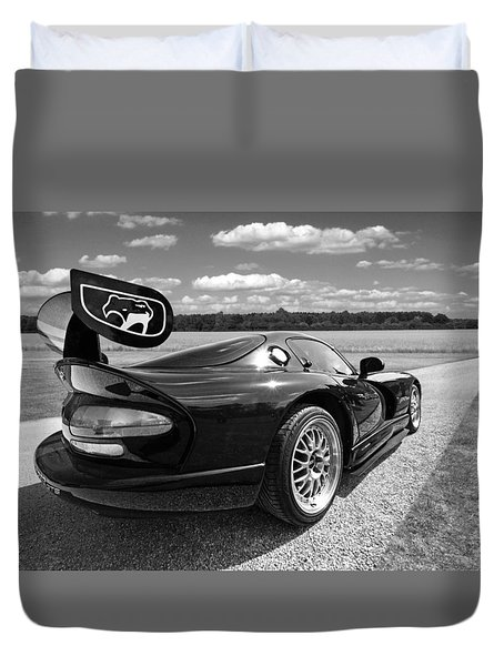Curvalicious Viper In Black And White Duvet Cover by Gill Billington