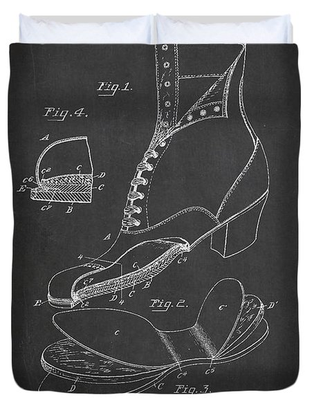 Cushion Insole For Shoes Patent Drawing From 1905 Duvet Cover by Aged Pixel
