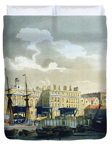 Custom House From The River Thames Duvet Cover by T. & Pugin, A.C. Rowlandson