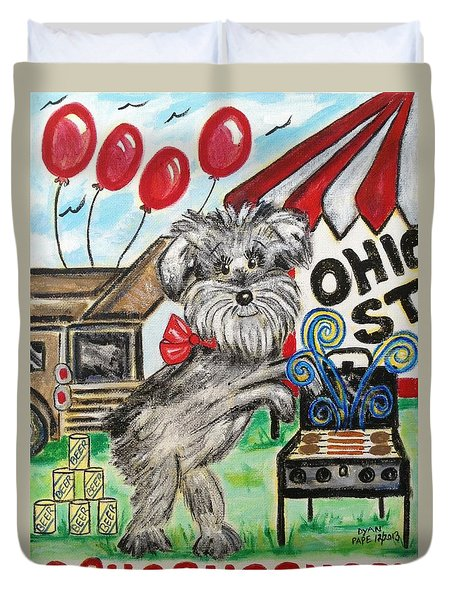 Osu Tailgating Dog Duvet Cover by Diane Pape