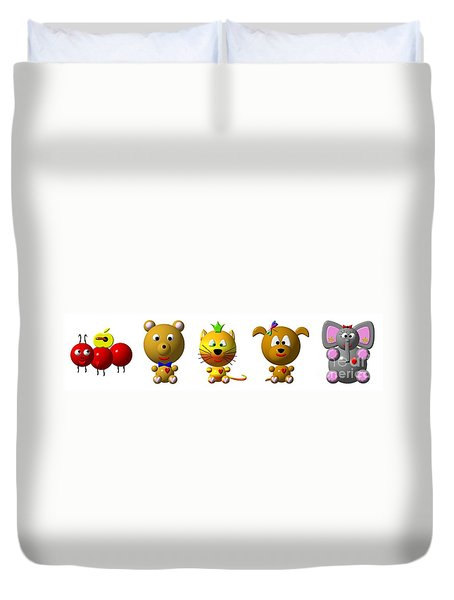 Cute Critters With Heart A To E Duvet Cover by Rose Santuci-Sofranko