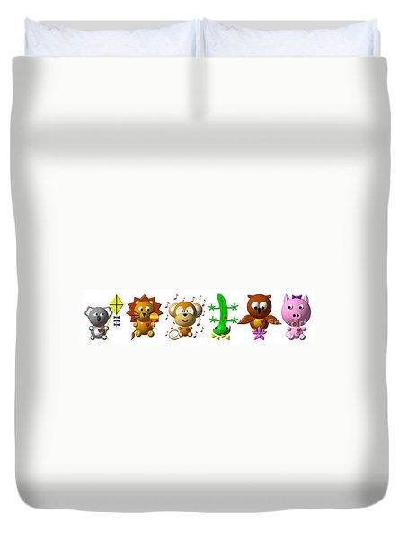 Cute Critters With Heart K To P Duvet Cover by Rose Santuci-Sofranko