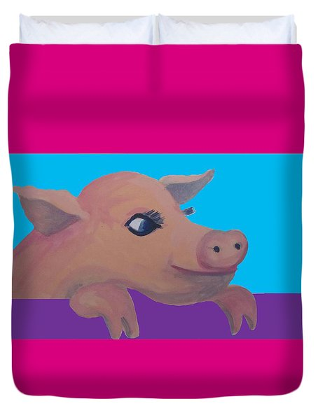 Cute Pig 1 Duvet Cover by Cherie Sexsmith