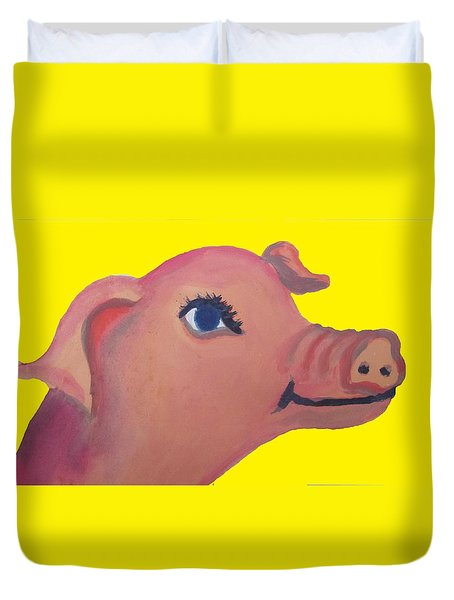 Cute Pig On Yellow Duvet Cover by Cherie Sexsmith