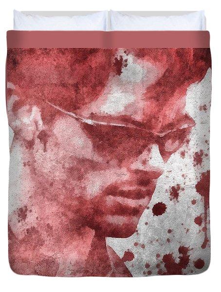 Cyclops X Men Paint Splatter Duvet Cover by Dan Sproul