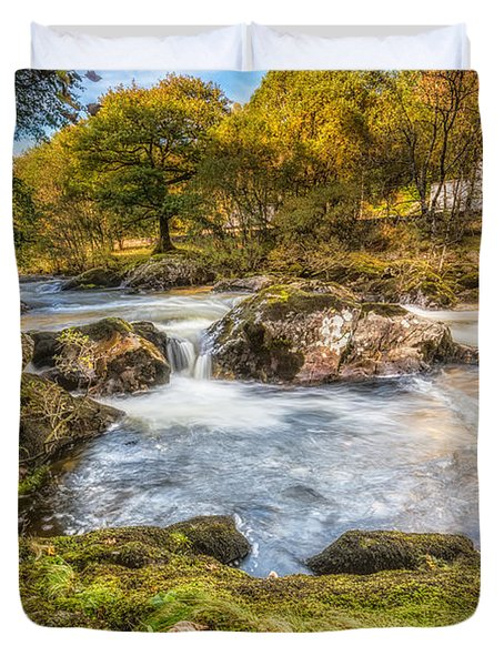 Cyfyng Falls Duvet Cover by Adrian Evans