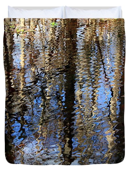 Cypress Reflection Nature Abstract Duvet Cover by Carol Groenen