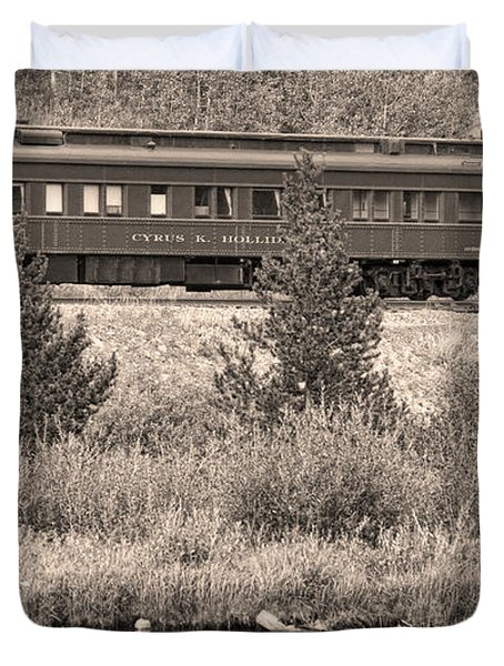 Cyrus K  Holliday Private Rail Car Bw Sepia Duvet Cover by James BO  Insogna