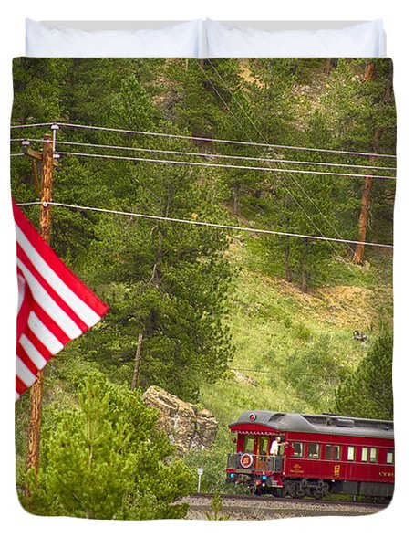 Cyrus K. Holliday Rail Car And Usa Flag Duvet Cover by James BO  Insogna