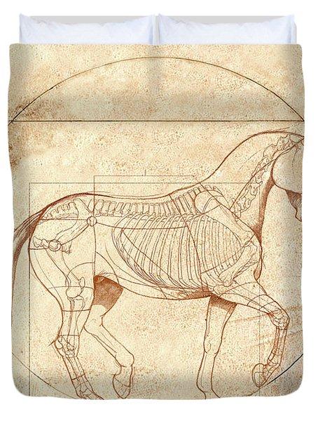 da Vinci Horse in Piaffe Duvet Cover by Catherine Twomey