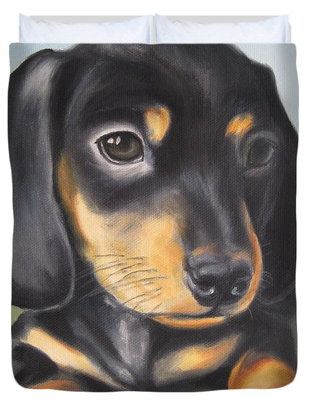 Dachshund Puppy Duvet Cover by Jindra Noewi